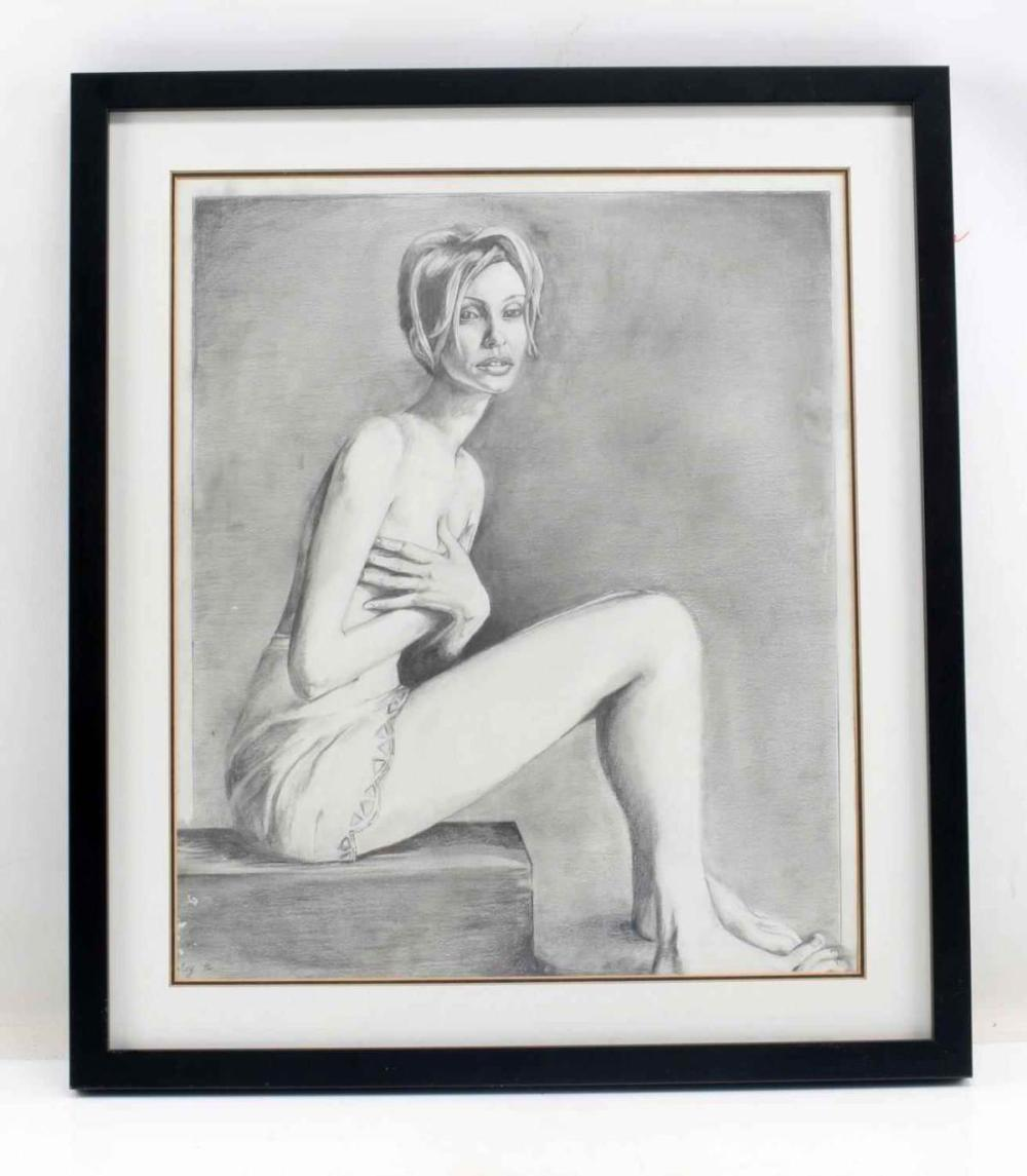 FEMALE NUDE FIGURE GRAPHITE DRAWING
