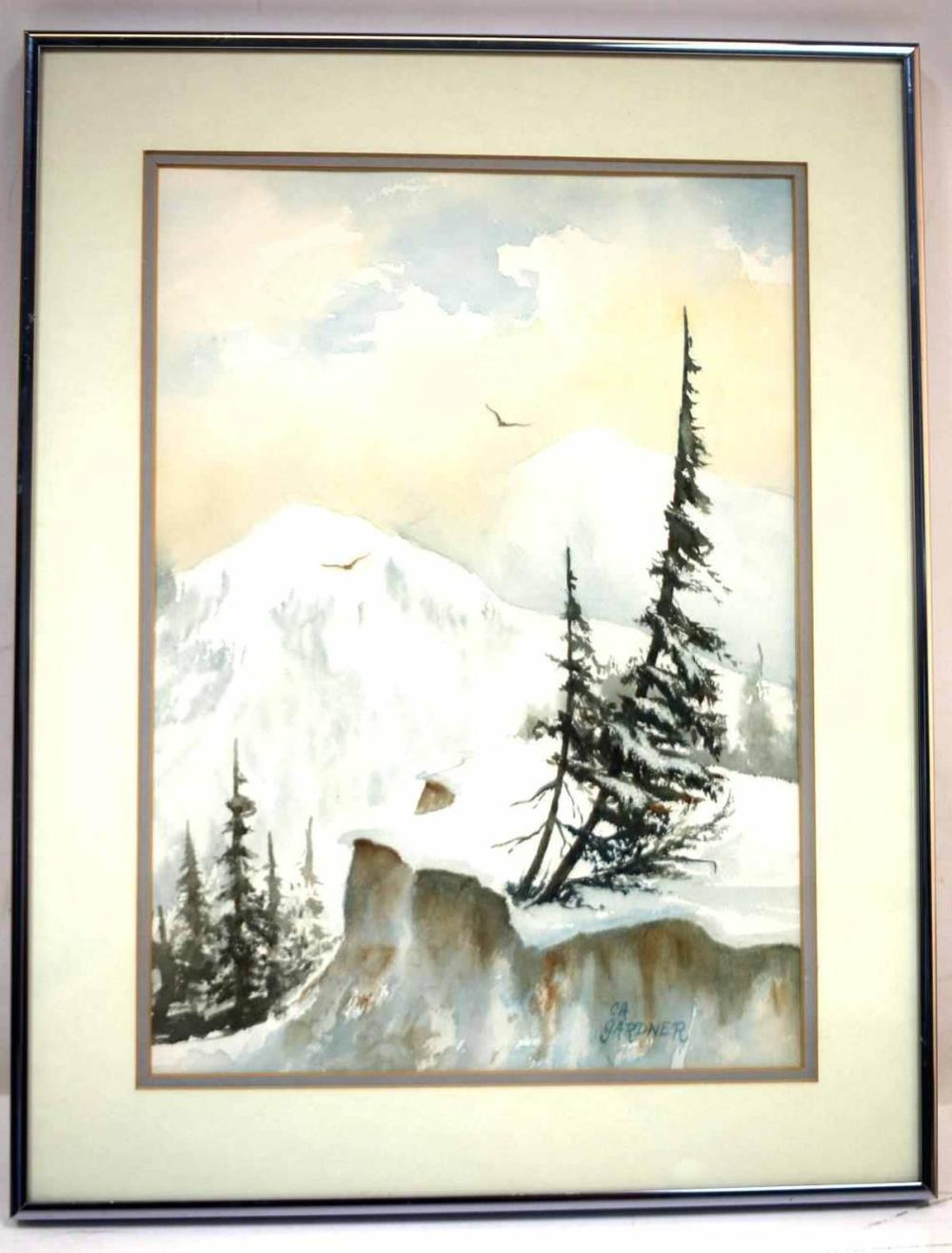WINTER WILDERNESS WATERCOLOR LANDSCAPE PAINTING