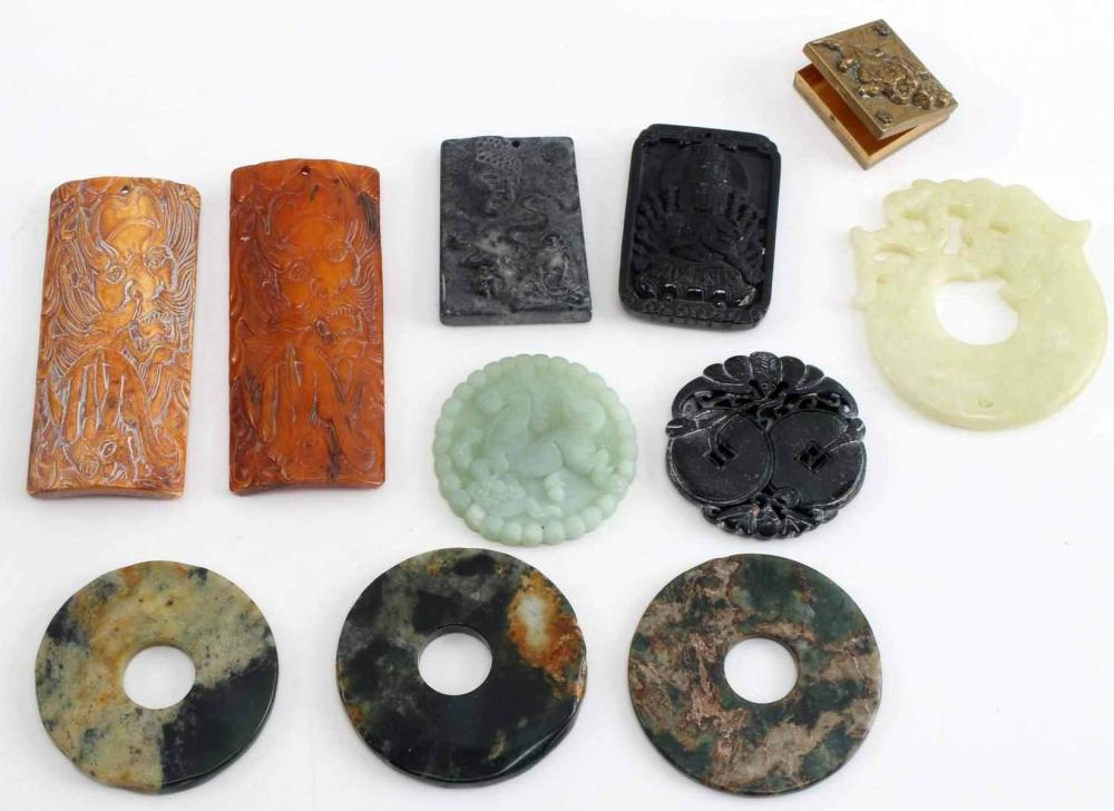 LOT OF 11 MISC STONE RESIN METAL ASIAN ART PIECES