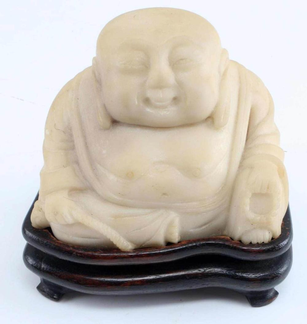 CARVED STONE BUDDHA W WOODEN STAND & TANKA
