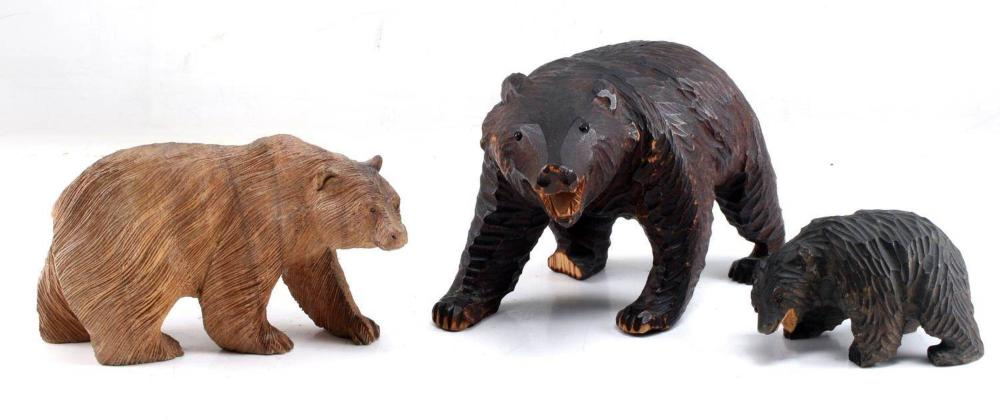 LOT OF 3 HAND CARVED WOOD BLACK FOREST BEARS