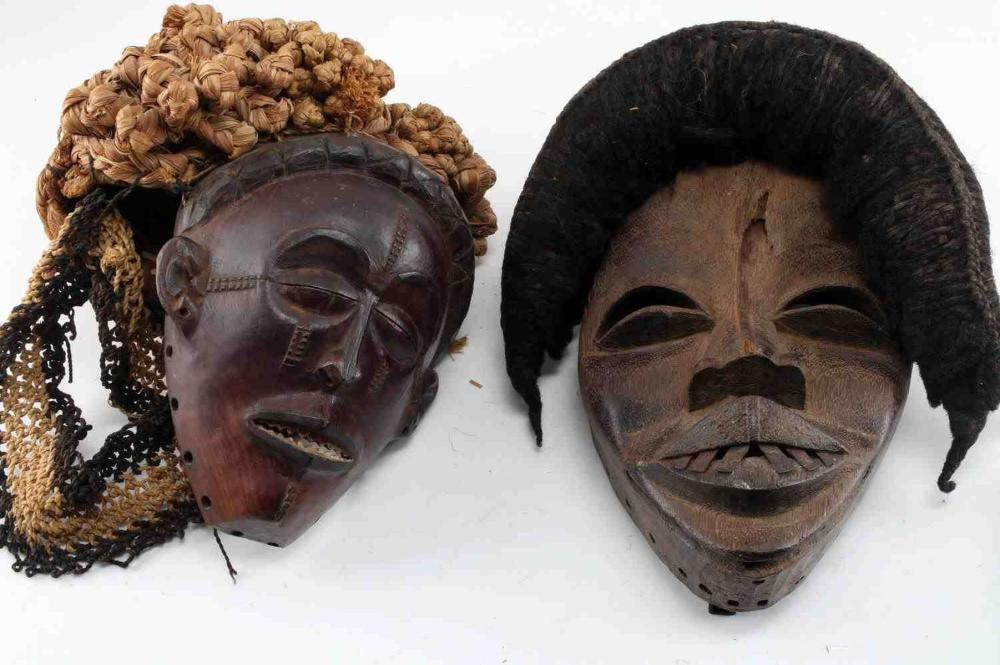 LOT OF 2 WOOD HEWN AFRICAN TRIBAL MASKS