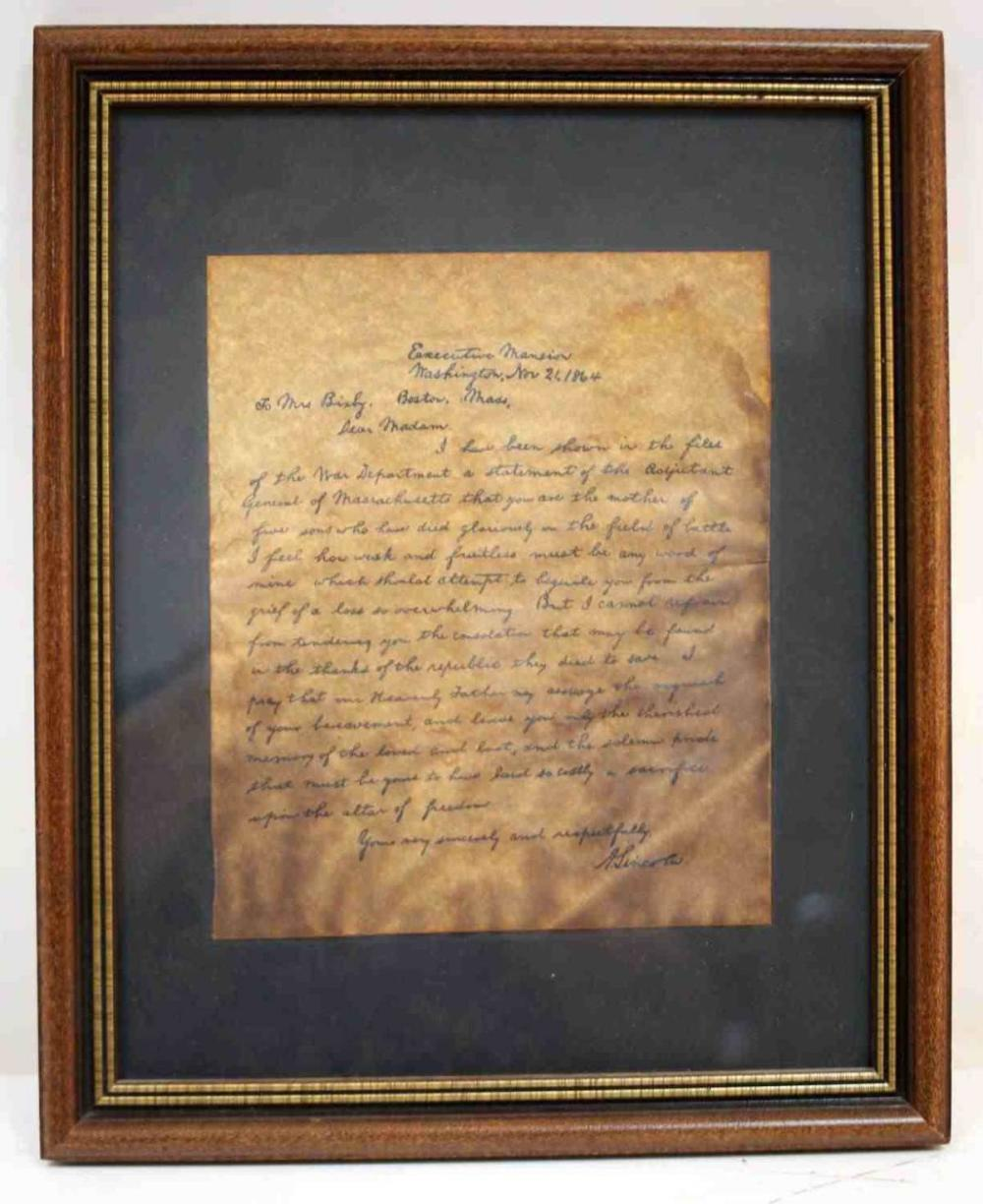 REPODUCTION OF LINCOLN CONDOLENCE LETTER1864