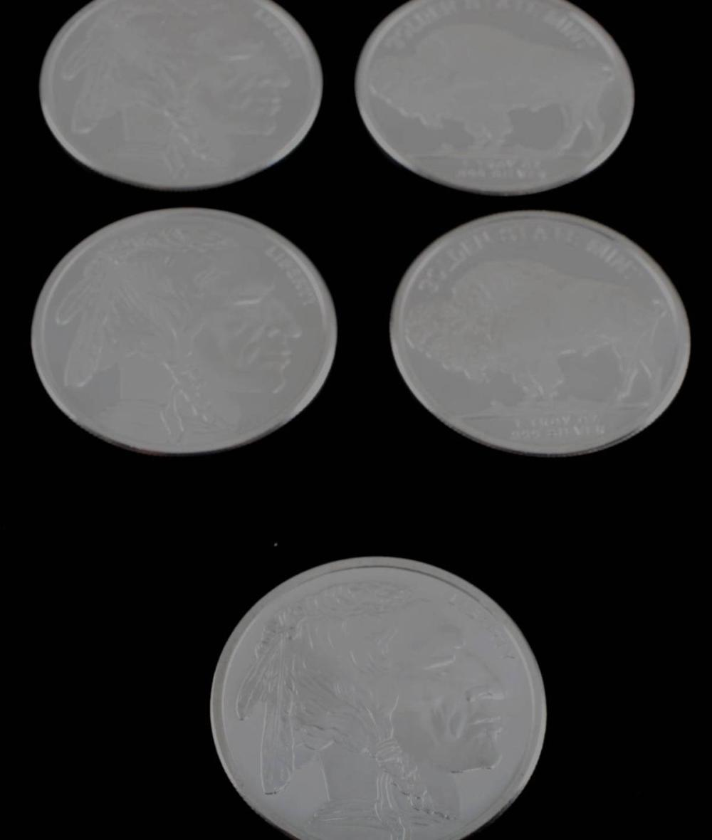 1 OZ BUFFALO ROUND OF .999 FINE SILVER LOT OF 5