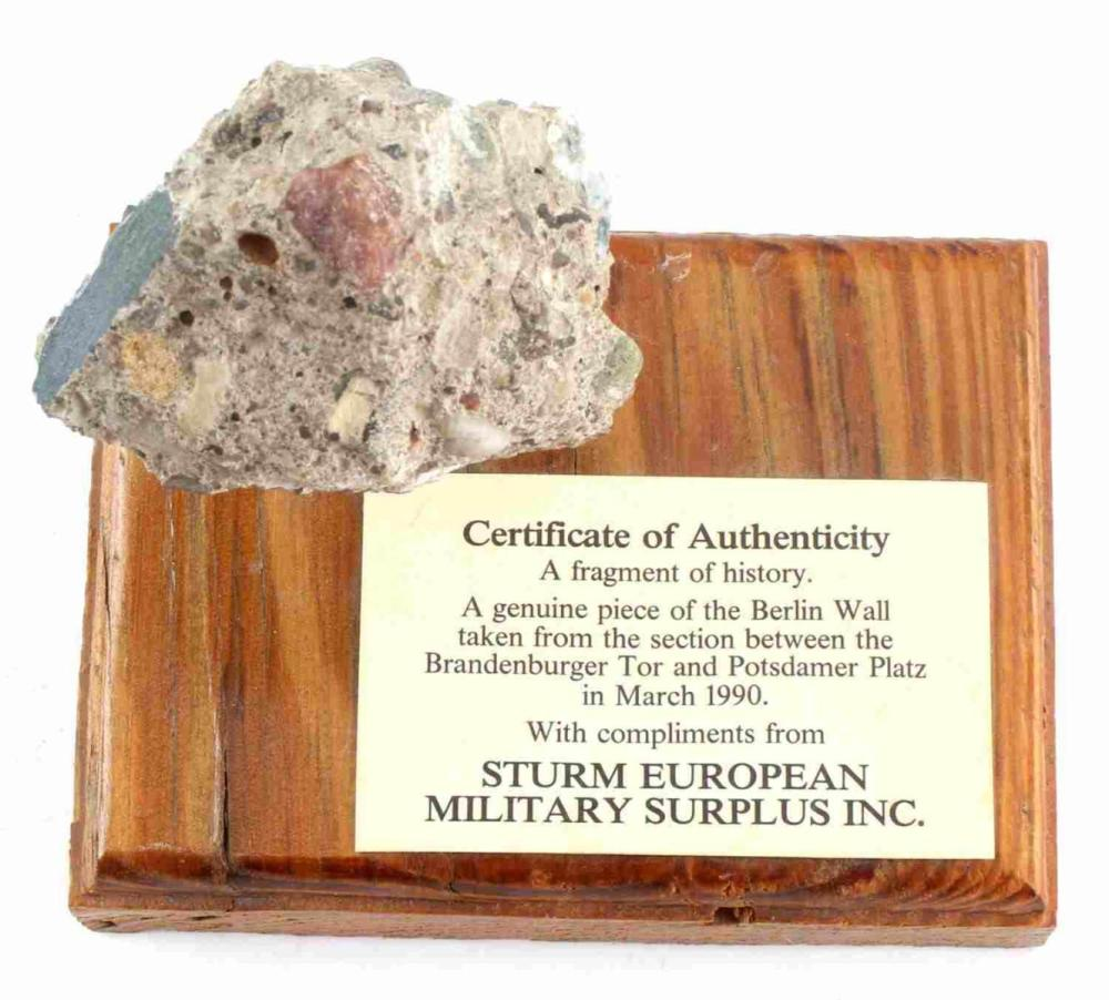 PIECE OF BERLIN WALL W CERTIFICATE OF AUTHENTICITY