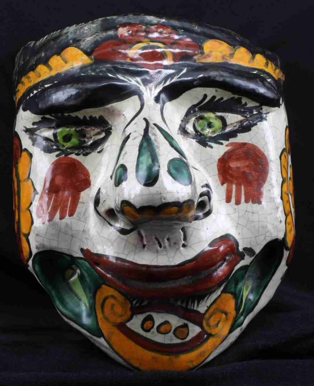 ANTIQUE HAND PAINTED CERAMIC MASK MAYBE MEXICAN