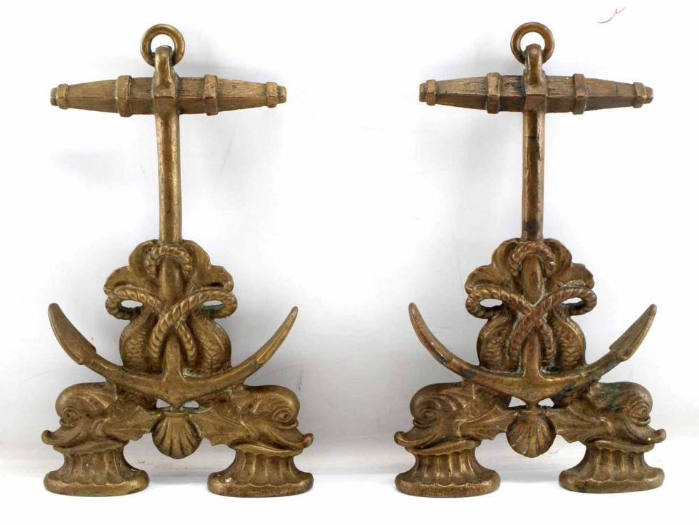 19TH CENTURY NAUTICAL DOLPHIN FIREPLACE ANDIRONS