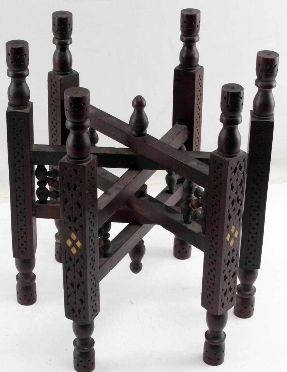 HAND CARVED MAHOGANY WOOD FOLDABLE STAND