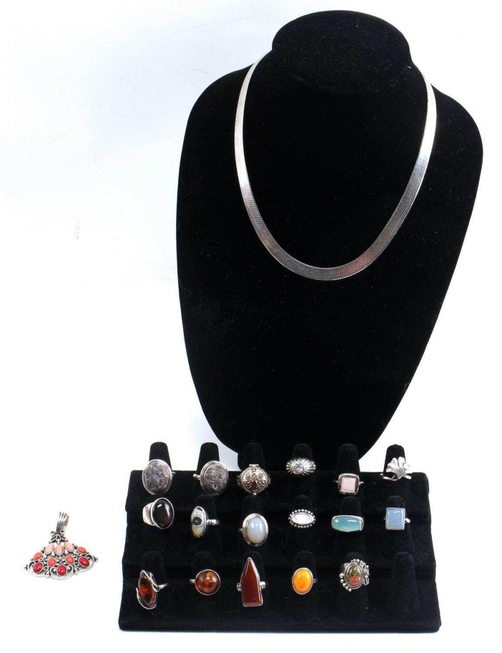 SILVER AND GEMSTONE RING PENDANT JEWELRY LOT