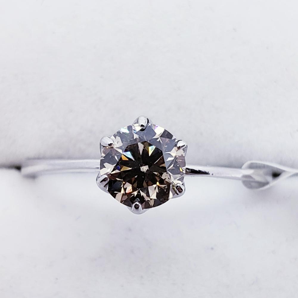 Certified 14K Fancy Brown Diamond (I1)(0.7ct) Ring
