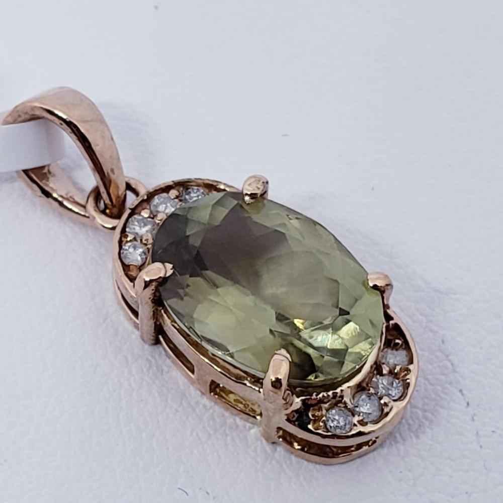 Certified Color Changing Sultanite(4ct) Diamond(0.12ct) Pendant