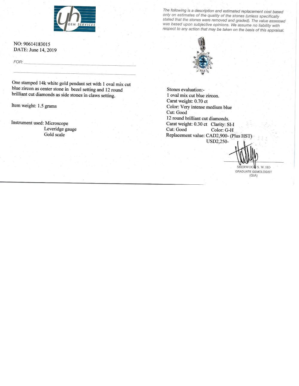 Certified 14K Blue Zircon(0.7ct) 12 Diamond(0.3ct) Pendant