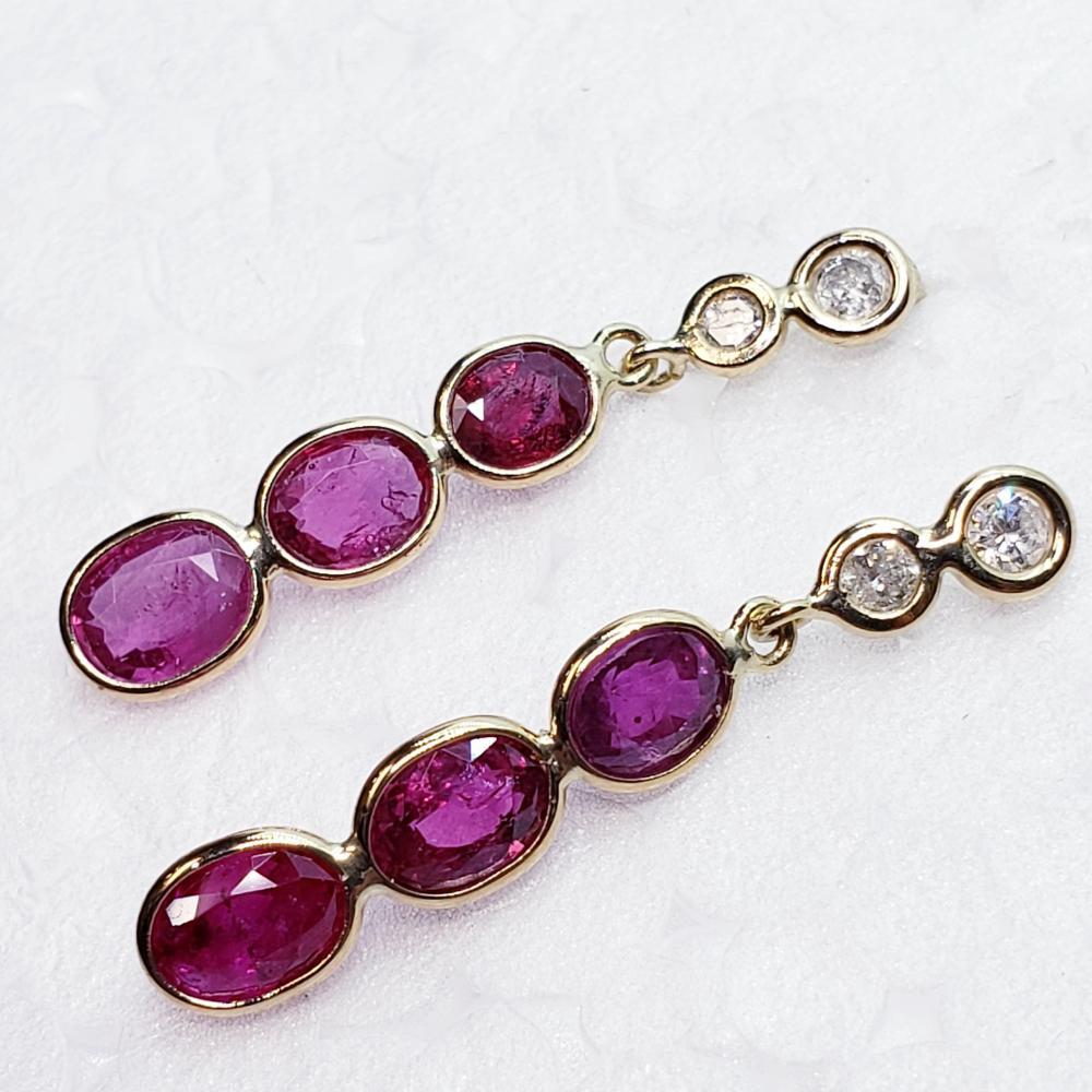 Certified 14K Burmese Rubies(2ct) Diamond(0.15ct) Earrings