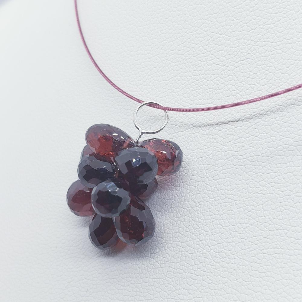 Silver Garnet Pendant(27ct) Necklace