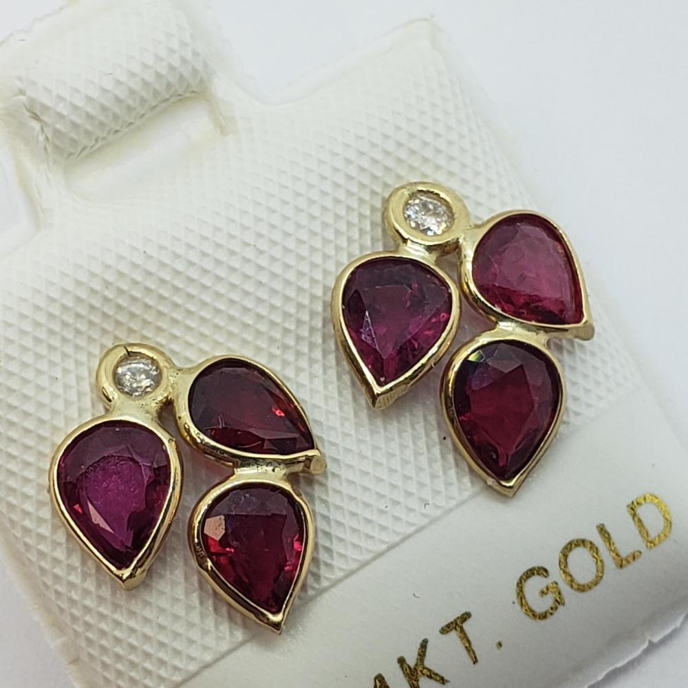 Certified 14K Genuine Burmese Rubies (2.2ct) Diamond(0.06ct) Earrings