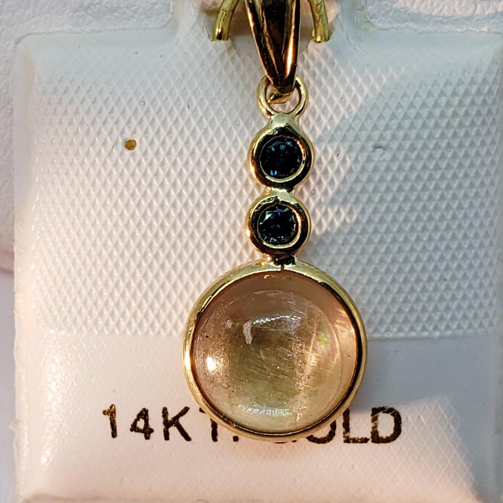 Certified Color Changing Sultanite(1.8ct) Blue Diamond(0.08ct) Pendant