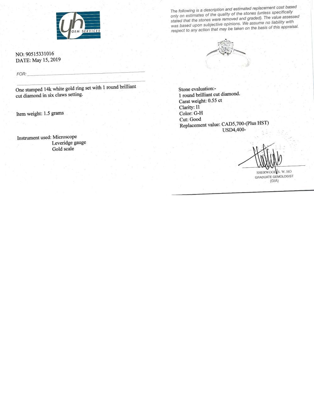 Certified 14K Diamond (I1)(0.55ct) Ring