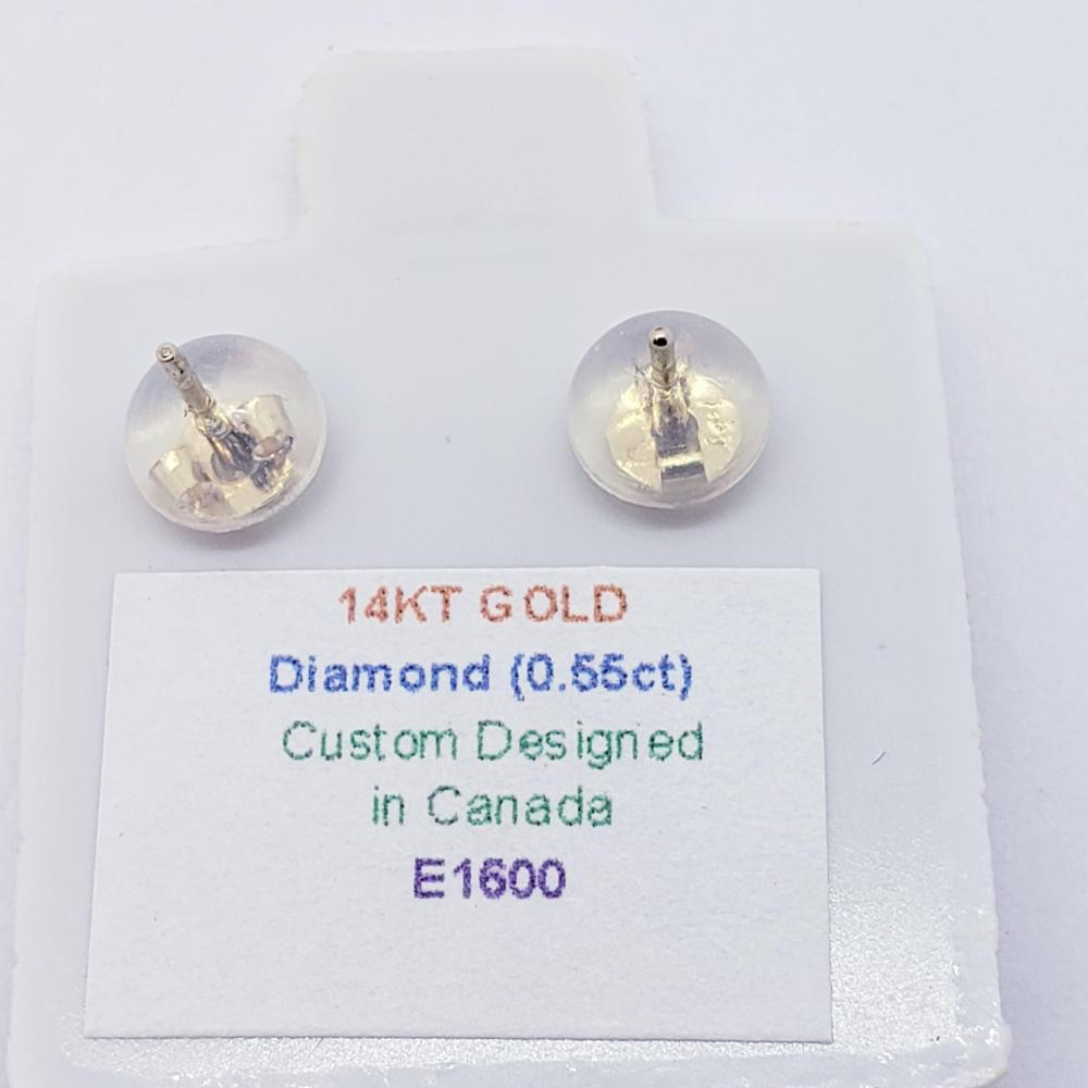 Certified 14K Diamond (I1 - I2)(0.55ct) Earrings