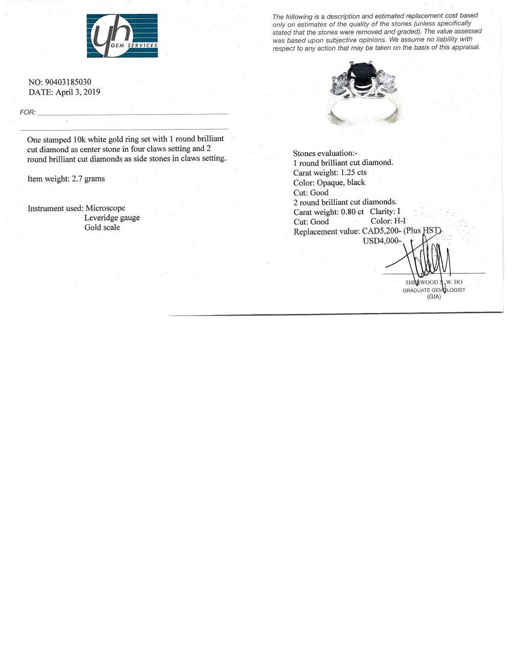 Certified 10K Black Diamond(1.25ct) Side Diamond(0.8ct) Ring