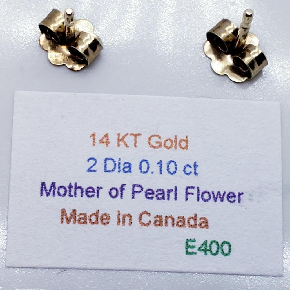 Certified 14K Diamond Stud (0.1ct) Mother Of Pearl Earrings