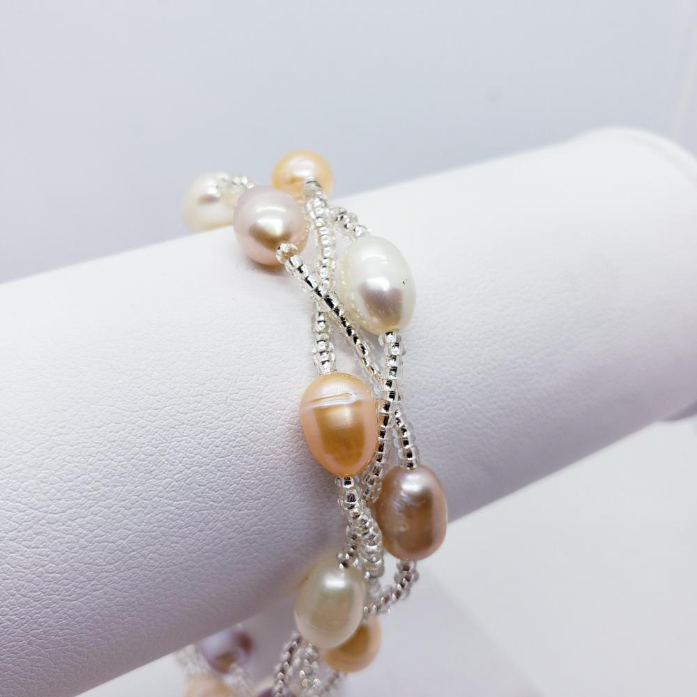 Fresh Water Pearl Braclet And Necklace Set M