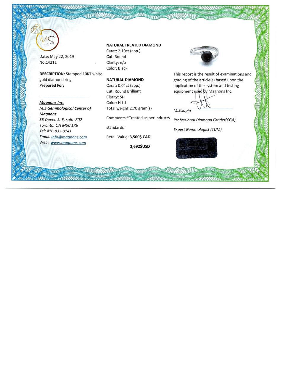Certified 14K Black Diamond(2.1ct) Side Diamond(0.04ct) Ring