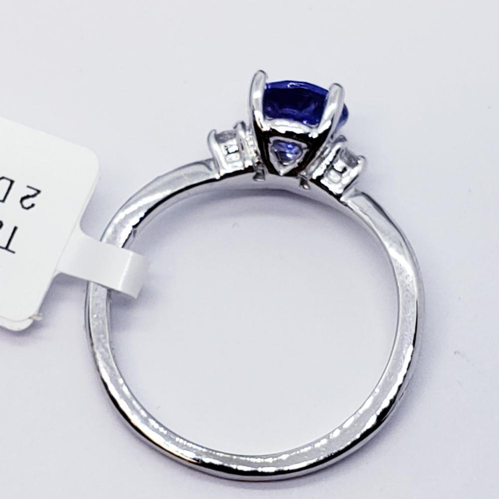 Certified 14K Tanzanite(1.05ct) Diamond(0.05ct) Ring