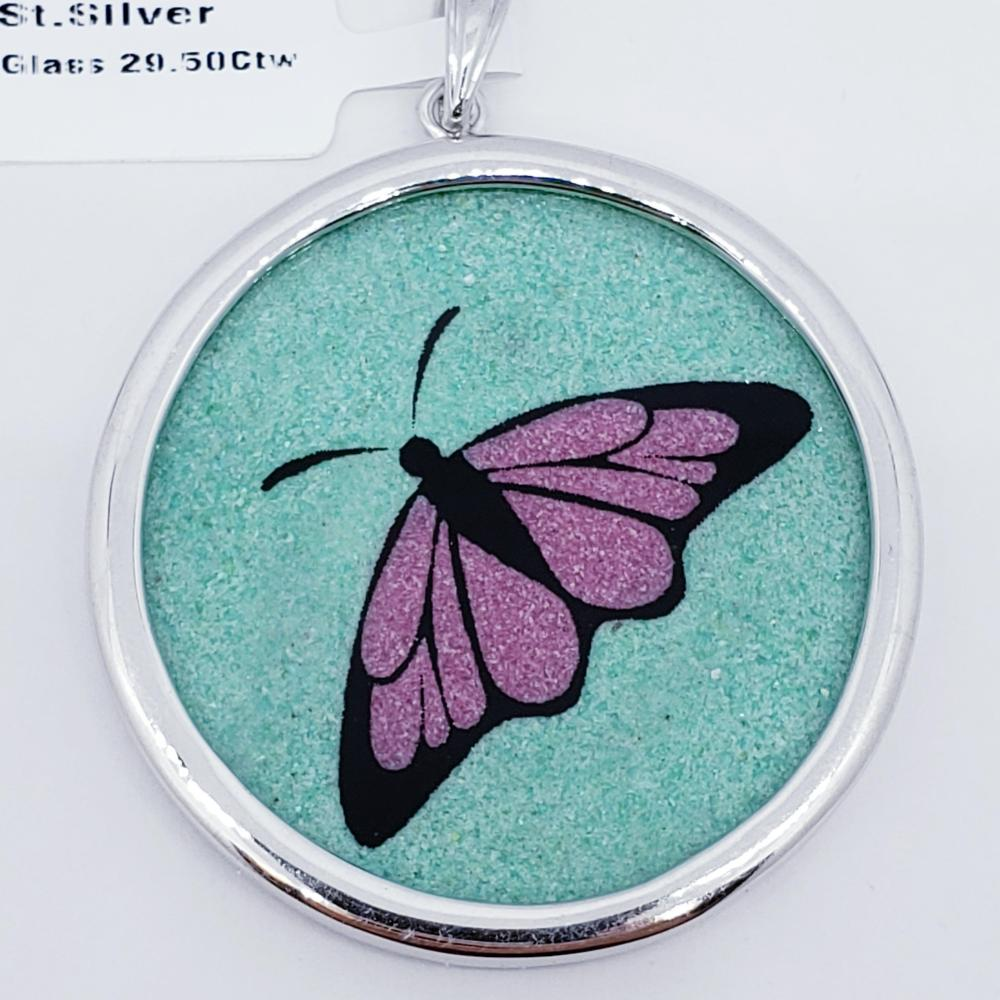 Certified Silver Butterfly Gemstone Painting Glass Pendant