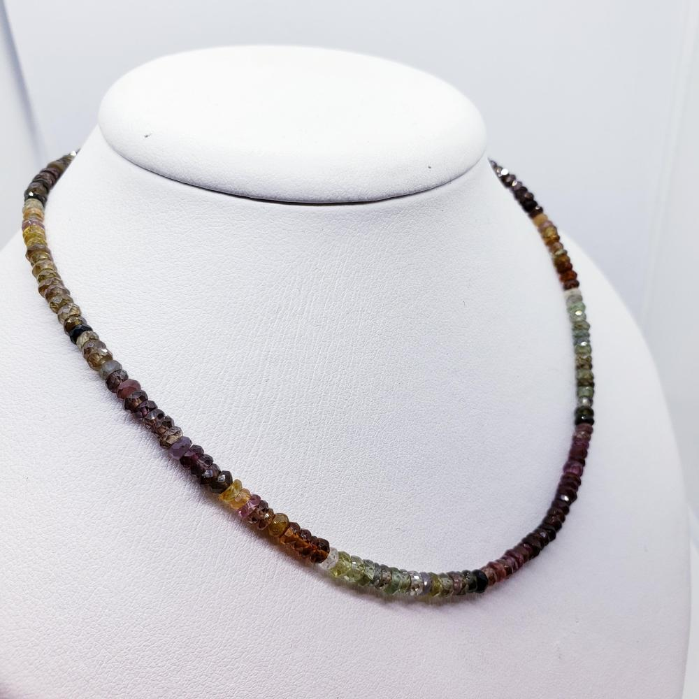 Certified Silver Fancy Multicolored Sapphires(60ct) Necklace