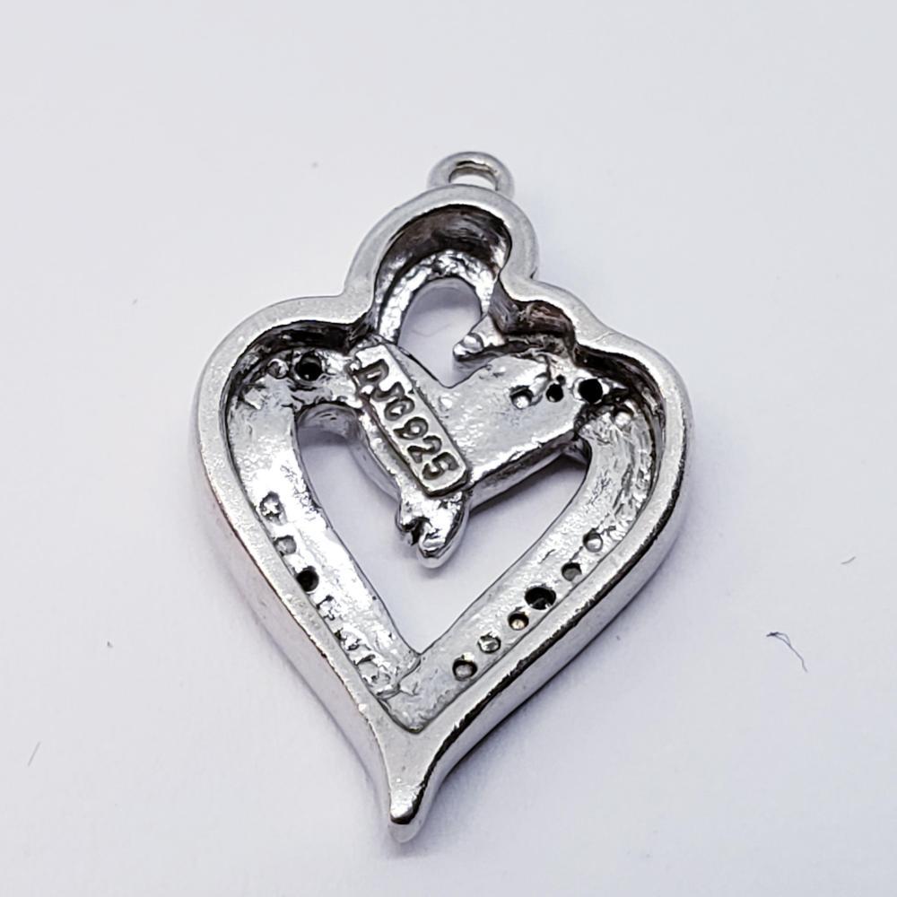 Silver Diamond Heart Shaped Pendant