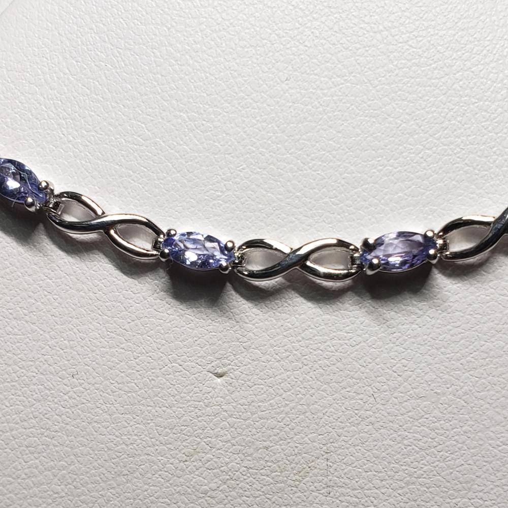 Silver Tanzanite Rhodium Plated(2.5ct) Bracelet