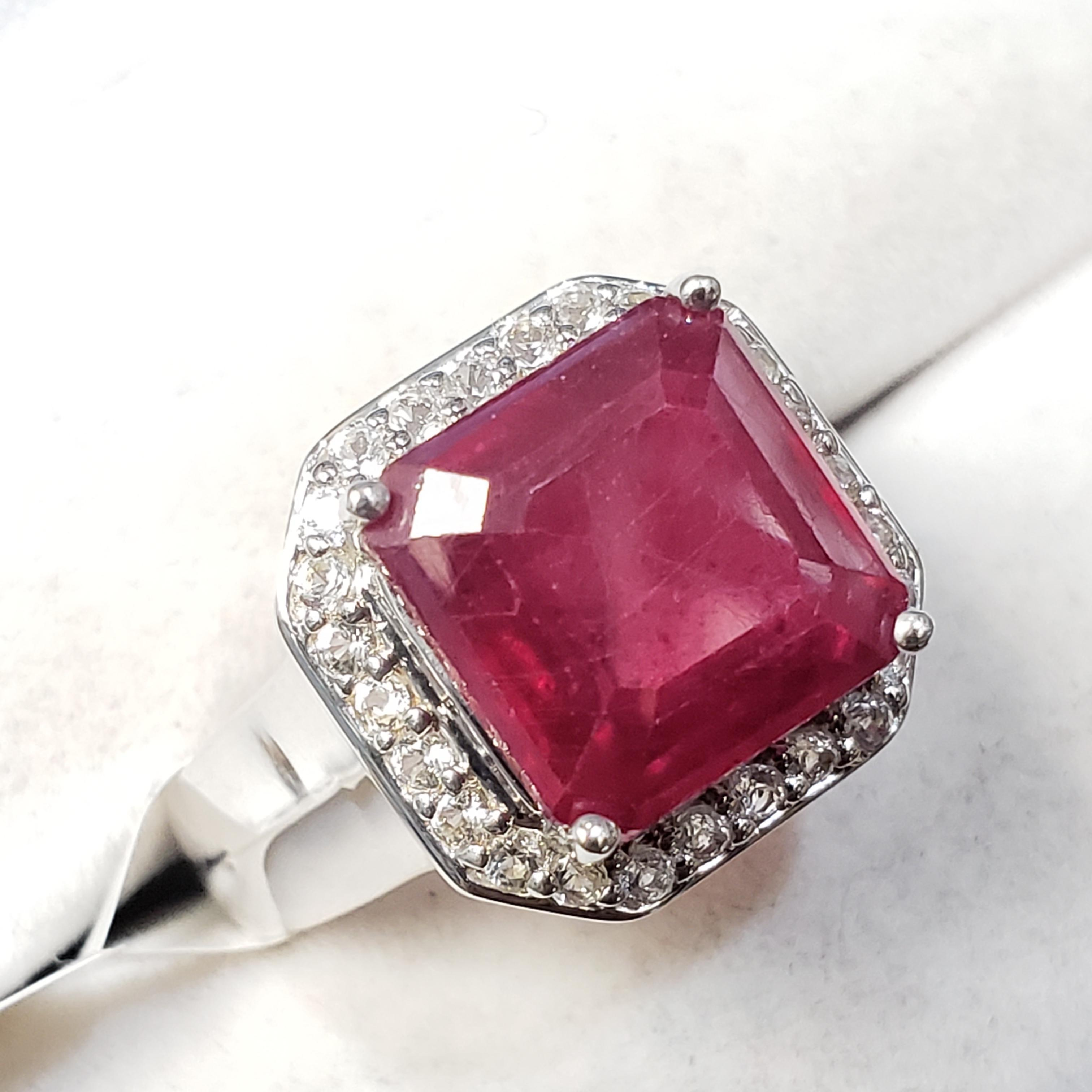 Silver Glass Filled Ruby(6.4ct) White Topaz Ring