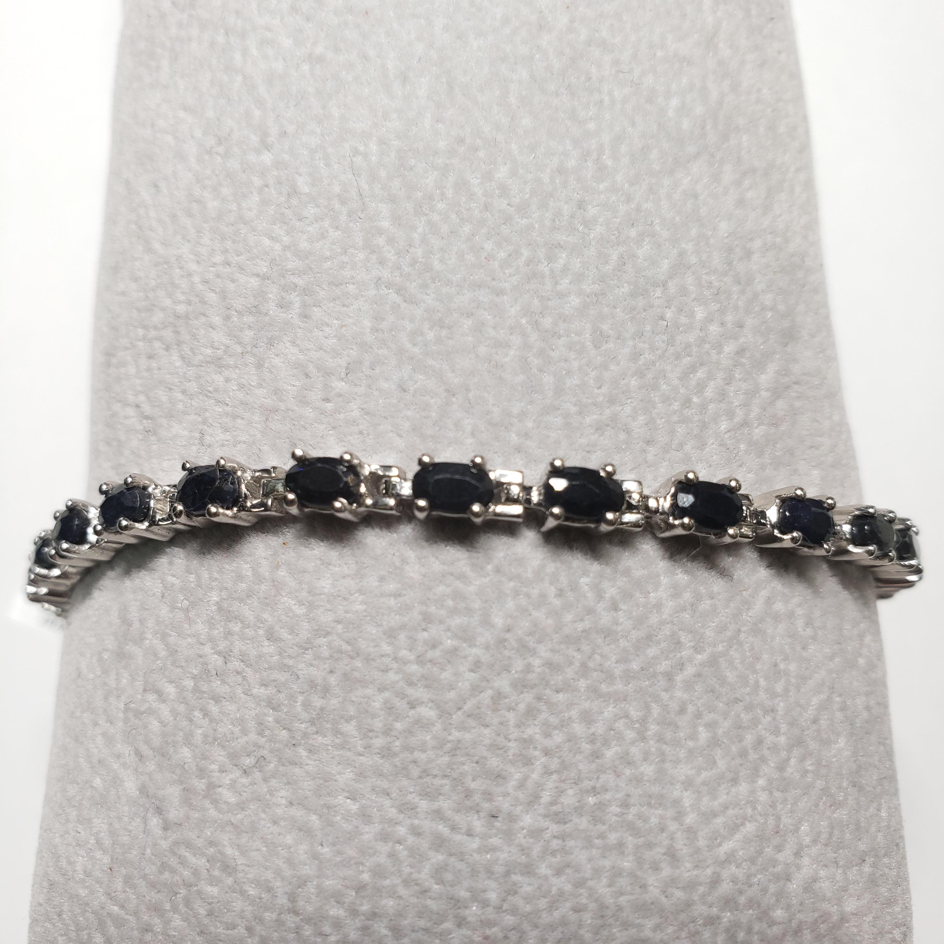 Certified Silver Natural Dark Blue Sapphire(8ct) Bracelet
