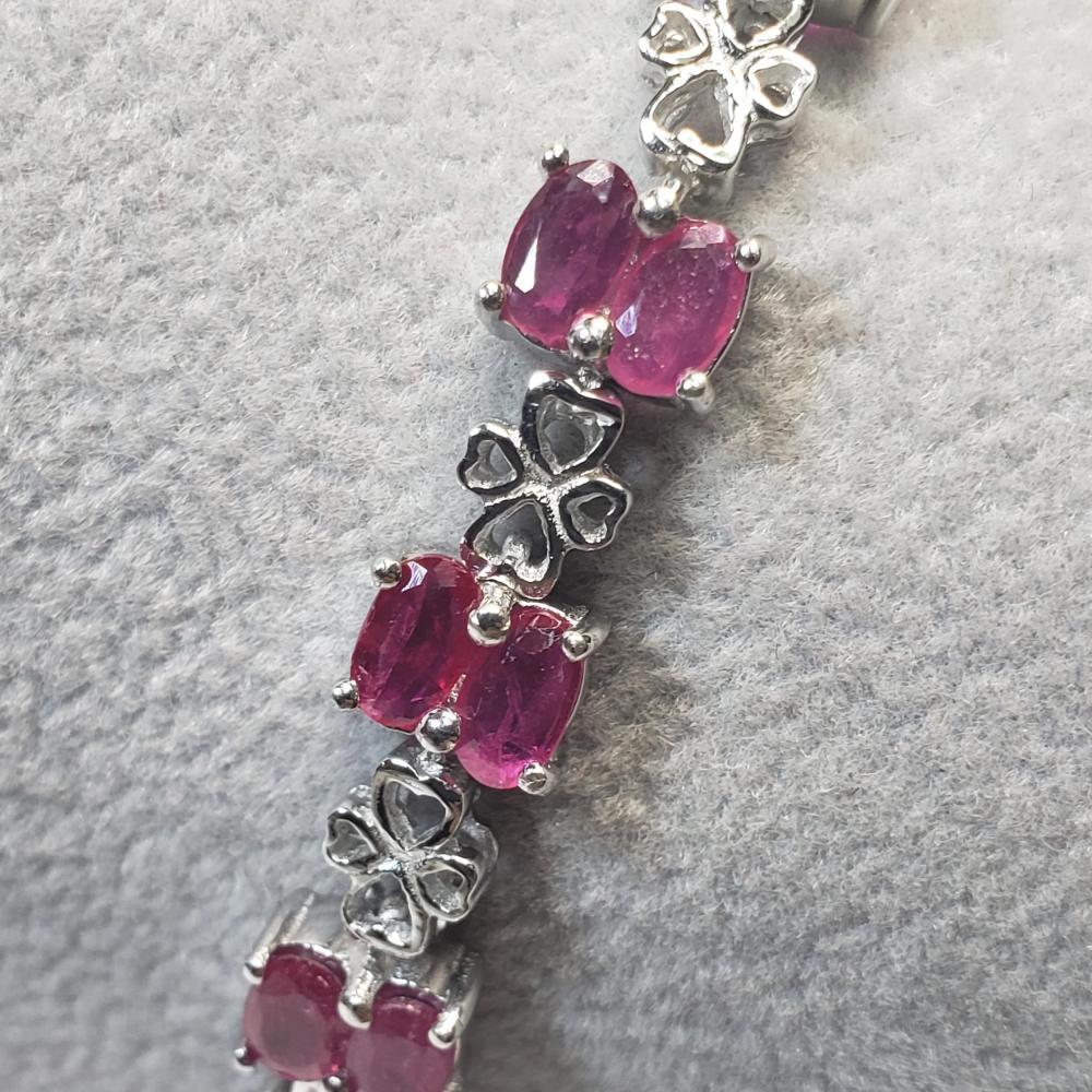 Certified Silver Glass Filled Ruby(8.5ct) Bracelet