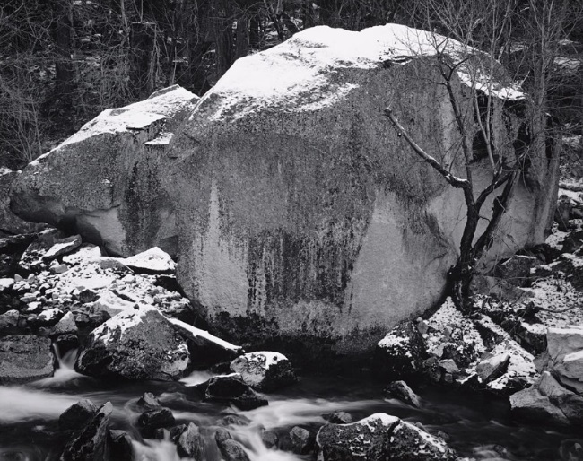 Ansel Adams (1902-1984), Rock and Powdered Snow