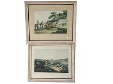 Two period hunting prints, one French, 30x43cm, and one English, 28x41cm.The Estate of Stanley Crawford Stevens.
