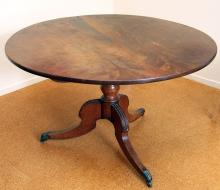 A Regency tilt top Cuban mahogany breakfast table, circular form on a carved tripod base with brass caps and castors, Circa 1810. Provenance: purchased in the 1960s from Connoisseurs Store. The Estate of Stanley Crawford