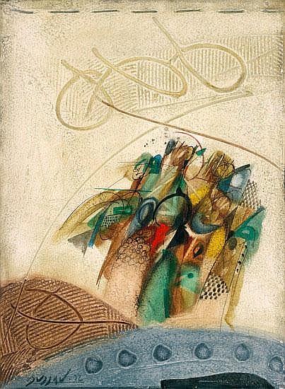 Georges Dussau (1947 - ?), Mischtechnik auf festem