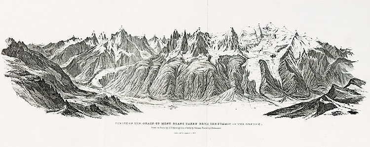 AULDJO (John). Narrative of an Ascent to the summit of Mont Blanc, on the 8th and 9th August, 1827. Londres, Longman, Rees, Orme, Brown and Green, 1828. In-4, demi-veau fauve avec coins, dos lisse orné, pièce de titre noire, tranches marbrées