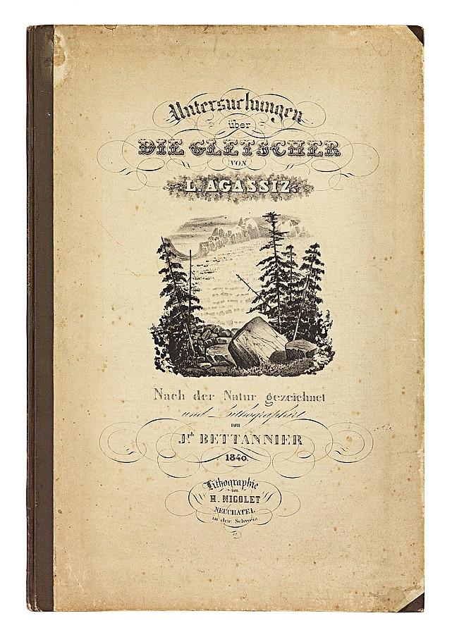 AGASSIZ (Louis). Untersuchungen über die Gletscher. Neuchâtel, Lithographie H. Nicolet, 1840. In-folio, bradel demi-toile brune avec petits coins, premier plat lithographié en noir (Reliure de l'éditeur).