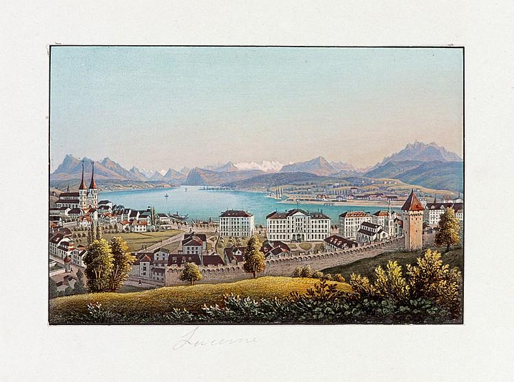 ALBUM. - Souvenirs de Suisse. In-8 oblong (185 x 250 mm), demi-chagrin violine, titre doré sur le premier plat, dos orné (Reliure de l'époque).