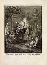 CERVANTES (Miguel de). 1 Les Principales avantures de l'admirable Don Quichotte, représentées en figures par Coypel, Picart le Romain, et autres habiles mâitres. La Haye, Pierre de Hondt, 1746. In-4, veau fauve granité, roulette dorée en encadrement,