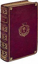 ALMANACH ROYAL, ANNÉE MDCCLXI. Paris, Le Breton, 1761. In-8, maroquin rouge, triple filet doré, fleurs de lis aux angles, armoiries au centre, dos orné de fleurs de lis, fleurettes et roulettes dorées, coupes décorées, roulette intérieure dorée,