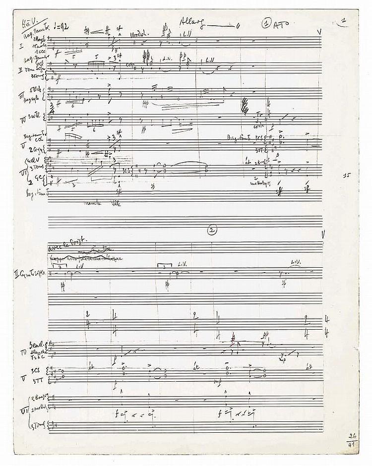 André JOLIVET. Manuscrit musical autographe, Cérémonial, hommage à Varèse pour six percussionnistes K253, 1968; 48 feuillets in-fol. paginés 1-42.