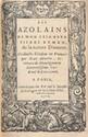 BEMBO (Pierre). Les Azolains. Paris, pour Galiot du Pré, 1576. In-16 maroquin rouge, triple filet doré, dos orné, roulette intérieure, tranches dorées sur marbrure (Reliure du XVIIIe siècle).