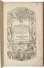 BOILLOT (J.). Nouveaux Pourtraitz et figures de termes pour user en l'architecture. Langres, Iehan des Prey, [1592], petit in-folio de 62 ff. sign. *6, A-H6, I8, veau fauve, encadrement à froid autour des plats, serti d'une pièce de veau plus sombre,