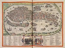 BRAUN (G.) - HOGENBERG (F.). Théâtre des Cités du monde. Partie I à IV. [Cologne, G. von Kempen, 1576 (?) - 1583 (?)], 4 parties en un vol. in-folio, veau glacé raciné, dos à nerfs orné, tranches lisses (reliure de la toute fin du XVIIIe siècle).