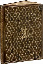 Discours sur les arcs triomphaux dressés en la ville d'Aix. Aix, I. Tholosan, 1624, in-folio, maroquin vert olive, plats et dos ornés d'un semé de fleur de lys et d'un chiffre entrelacé couronné, armes au centre, dos lisse, tranches dorées (reliure