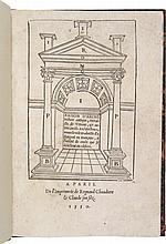 [SAGREDO (D. de)] - VITRUVE. Raison d'architecture antique, extraite de Vitruve, et autres anciens architecteurs nouvellement traduicte d'Espaignol en Français... Paris, R. Chaudiere, 1550, in-8° de 51 ff., sign. a-f8, g4, demi-chagrin rouge, dos à