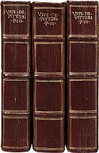 VASARI (G.). Le vite de' piu eccelenti Pittori, Scultori et Architettori... Bologna, Heredi di Evangelista Dozza, 1647, 3vol. in-4° maroquin rouge, filets dorés autour des plats, dos à nerfs, dans le caisson supérieur titre en lettres dorées,